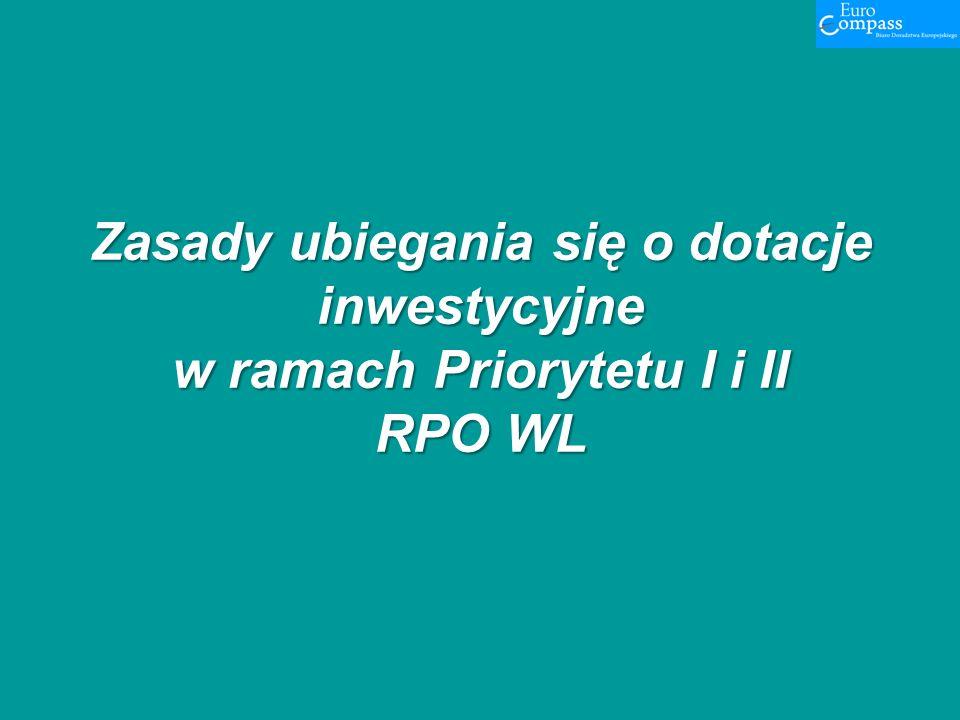 Zasady ubiegania się o dotacje inwestycyjne w ramach Priorytetu I i II RPO WL Zasady ubiegania się o dotacje inwestycyjne w ramach Priorytetu I i II R