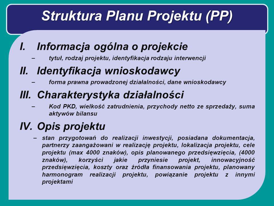 Struktura Planu Projektu (PP) I.Informacja ogólna o projekcie –tytuł, rodzaj projektu, identyfikacja rodzaju interwencji II.Identyfikacja wnioskodawcy –forma prawna prowadzonej działalności, dane wnioskodawcy III.Charakterystyka działalności –Kod PKD, wielkość zatrudnienia, przychody netto ze sprzedaży, suma aktywów bilansu IV.Opis projektu –stan przygotowań do realizacji inwestycji, posiadana dokumentacja, partnerzy zaangażowani w realizację projektu, lokalizacja projektu, cele projektu (max 4000 znaków), opis planowanego przedsięwzięcia, (4000 znaków), korzyści jakie przyniesie projekt, innowacyjność przedsięwzięcia, koszty oraz źródła finansowania projektu, planowany harmonogram realizacji projektu, powiązanie projektu z innymi projektami