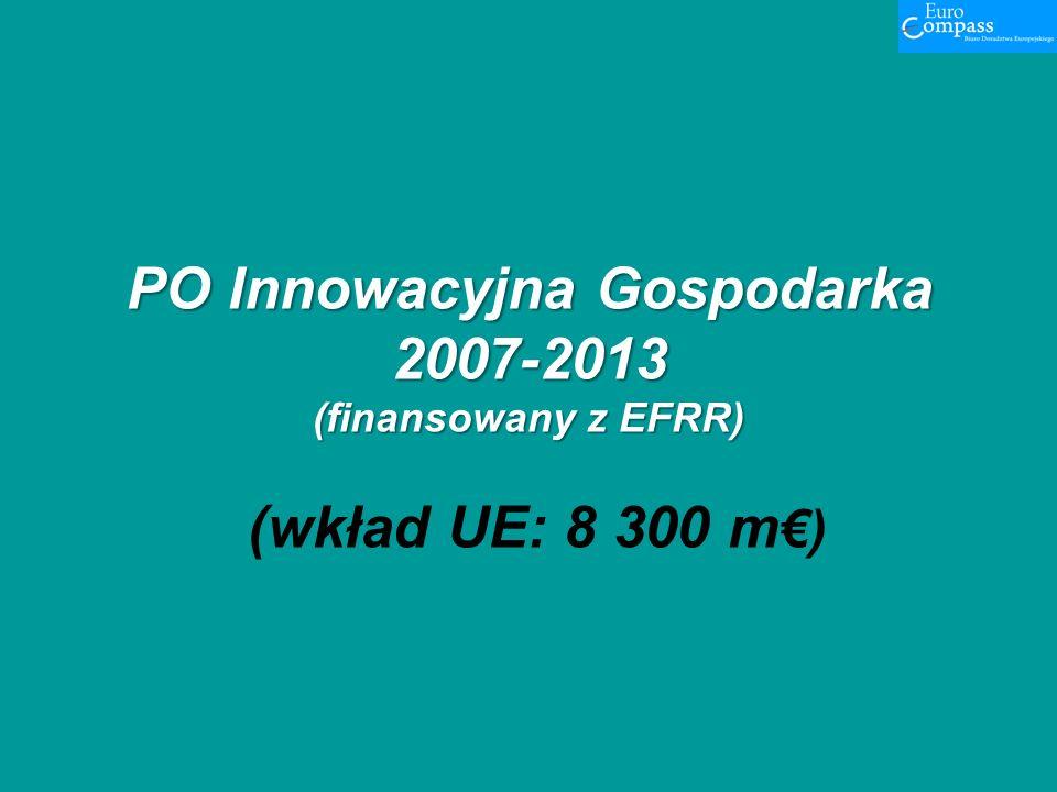 PO Innowacyjna Gospodarka 2007-2013 (finansowany z EFRR) PO Innowacyjna Gospodarka 2007-2013 (finansowany z EFRR) (wkład UE: 8 300 m)