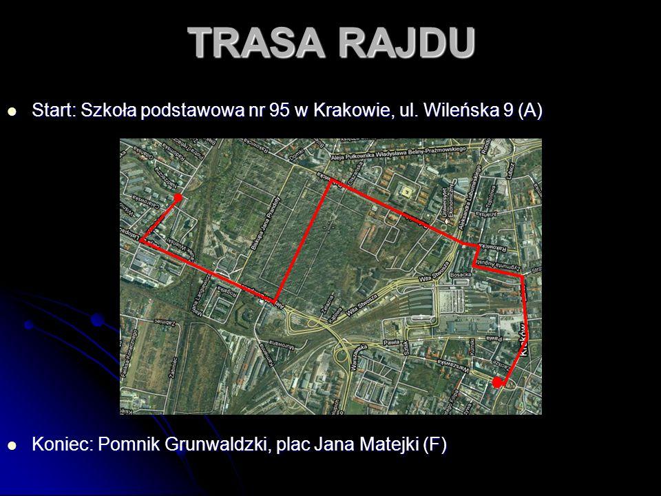 TRASA RAJDU Start: Szkoła podstawowa nr 95 w Krakowie, ul. Wileńska 9 (A) Start: Szkoła podstawowa nr 95 w Krakowie, ul. Wileńska 9 (A) Koniec: Pomnik
