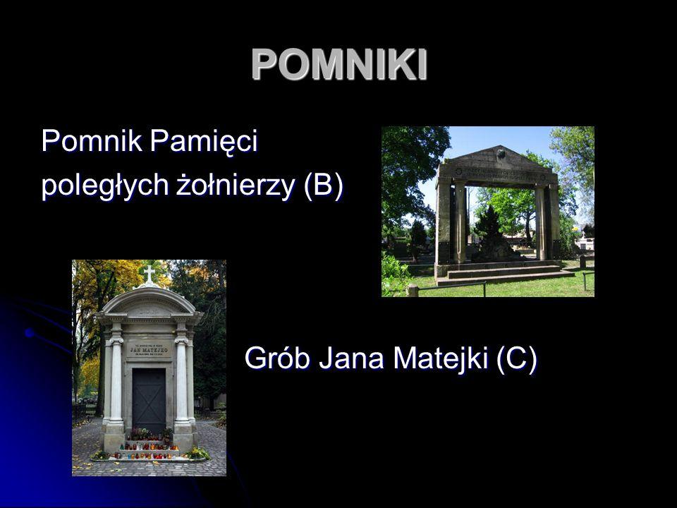 POMNIKI Pomnik Pamięci poległych żołnierzy (B) Grób Jana Matejki (C)