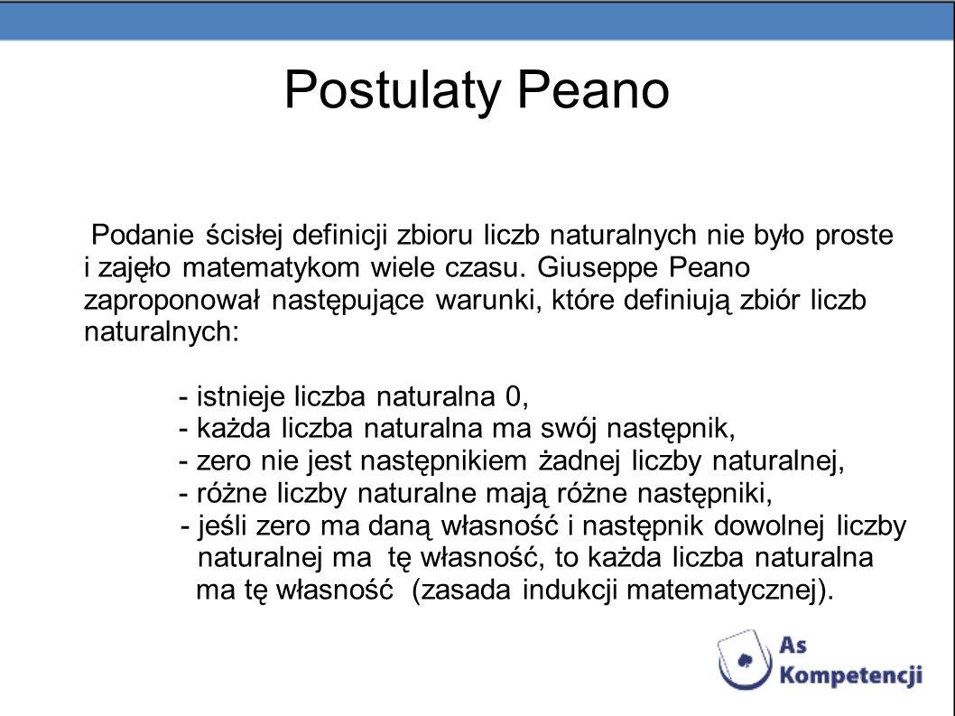 Postulaty Peano Podanie ścisłej definicji zbioru liczb naturalnych nie było proste i zajęło matematykom wiele czasu. Giuseppe Peano zaproponował nastę