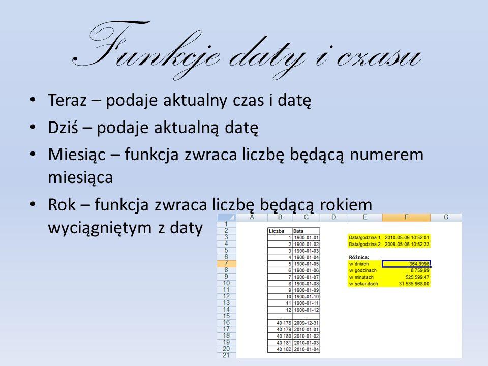 Funkcje daty i czasu Teraz – podaje aktualny czas i datę Dziś – podaje aktualną datę Miesiąc – funkcja zwraca liczbę będącą numerem miesiąca Rok – funkcja zwraca liczbę będącą rokiem wyciągniętym z daty