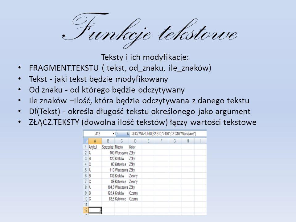 Funkcje tekstowe Teksty i ich modyfikacje: FRAGMENT.TEKSTU ( tekst, od_znaku, ile_znaków) Tekst - jaki tekst będzie modyfikowany Od znaku - od którego będzie odczytywany Ile znaków –ilość, która będzie odczytywana z danego tekstu Dł(Tekst) - określa długość tekstu określonego jako argument ZŁĄCZ.TEKSTY (dowolna ilość tekstów) łączy wartości tekstowe