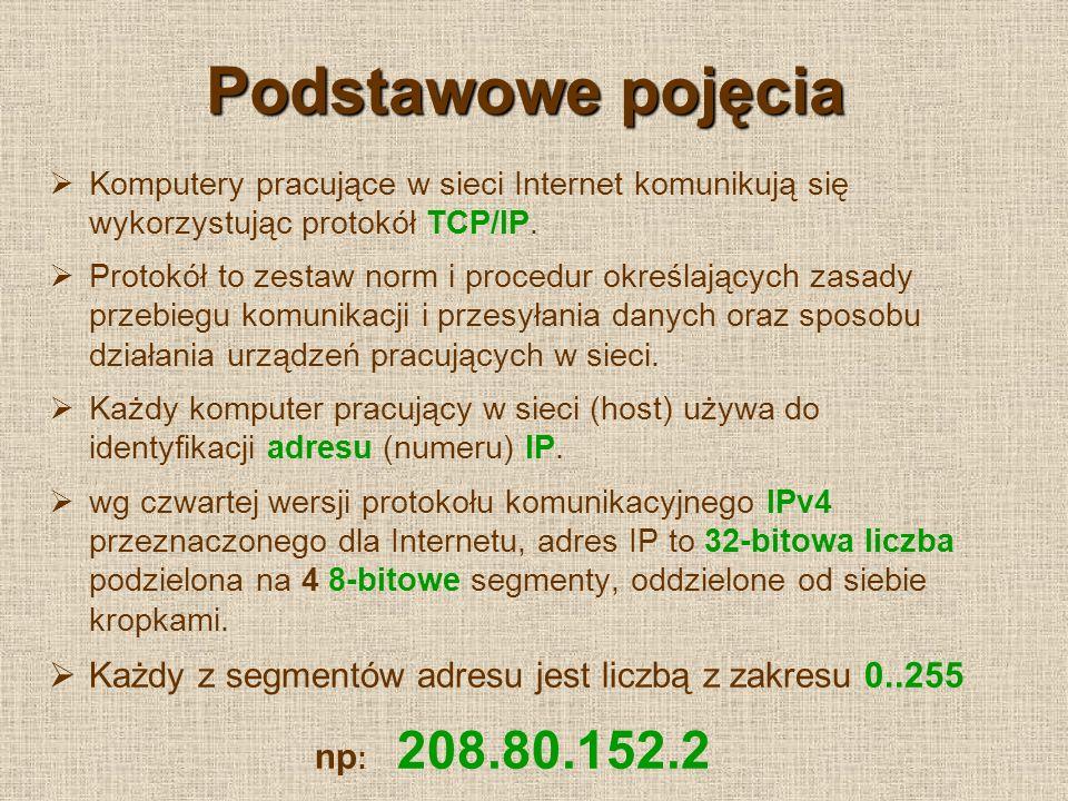 Podstawowe pojęcia (2) Na podstawie adresu IP można zlokalizować komputer w Internecie określając: wielkość i charakter sieci, adres sieci, adres komputera w sieci.