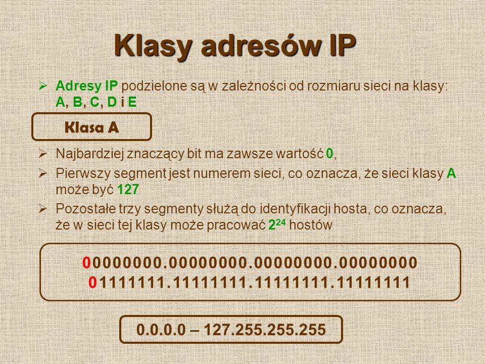 Klasy adresów IP Dwa najbardziej znaczące bity mają zawsze wartość 10, Dwa pierwsze segmenty stanowią adres sieci, co oznacza, że sieci klasy B może być 2 14 Pozostałe dwa segmenty służą do identyfikacji hosta, co oznacza, że w sieci tej klasy może pracować 2 16 hostów Klasa B 10000000.00000000.00000000.00000000 10111111.11111111.11111111.11111111 128.0.0.0 – 191.255.255.255