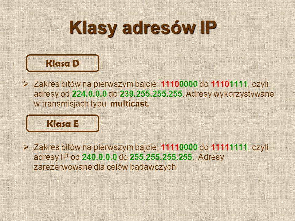 Maska podsieci Służy do ustalenia, która część adresu IP jest adresem hosta, a która adresem sieci – komputer musi wiedzieć, które adresy należą do jego sieci, a które pochodzą spoza niej.