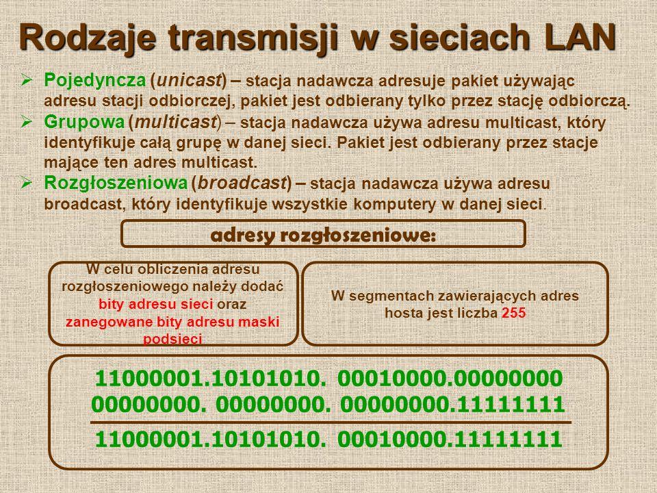 Adresy publiczne i prywatne Sieć lokalna komunikuje się ze światem zewnętrznym za pomocą urządzenia nazywanego bramą sieciową (ruter, komputer) Każda sieć jest widoczna dla urządzeń pracujących poza siecią pod jednym adresem.
