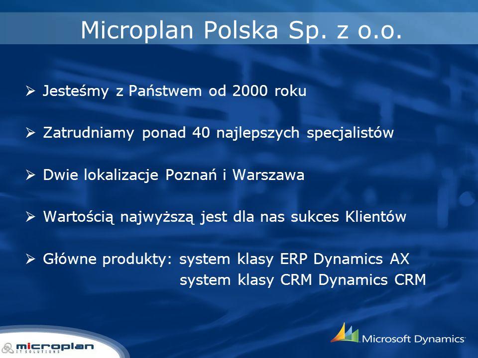 Microplan Polska Sp. z o.o. Jesteśmy z Państwem od 2000 roku Zatrudniamy ponad 40 najlepszych specjalistów Dwie lokalizacje Poznań i Warszawa Wartości