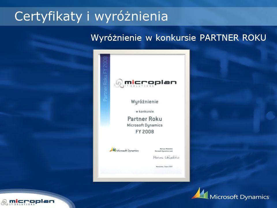 Certyfikaty i wyróżnienia Wyróżnienie w konkursie PARTNER ROKU