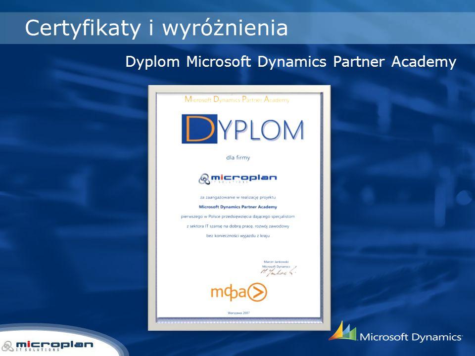 Certyfikaty i wyróżnienia Dyplom Microsoft Dynamics Partner Academy
