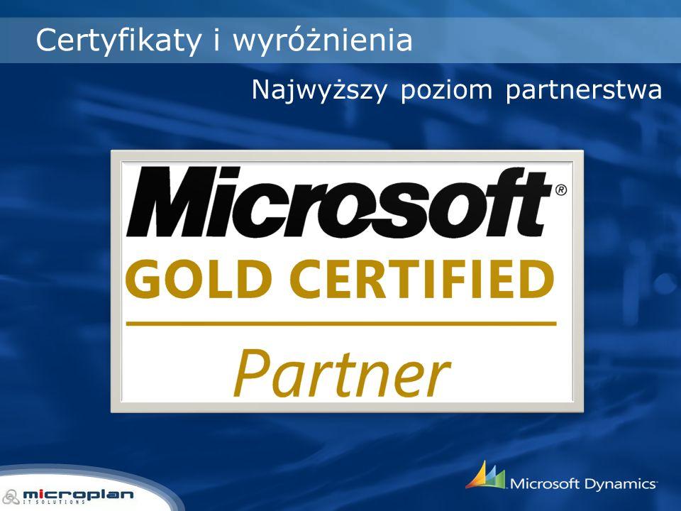 Certyfikaty i wyróżnienia Najwyższy poziom partnerstwa