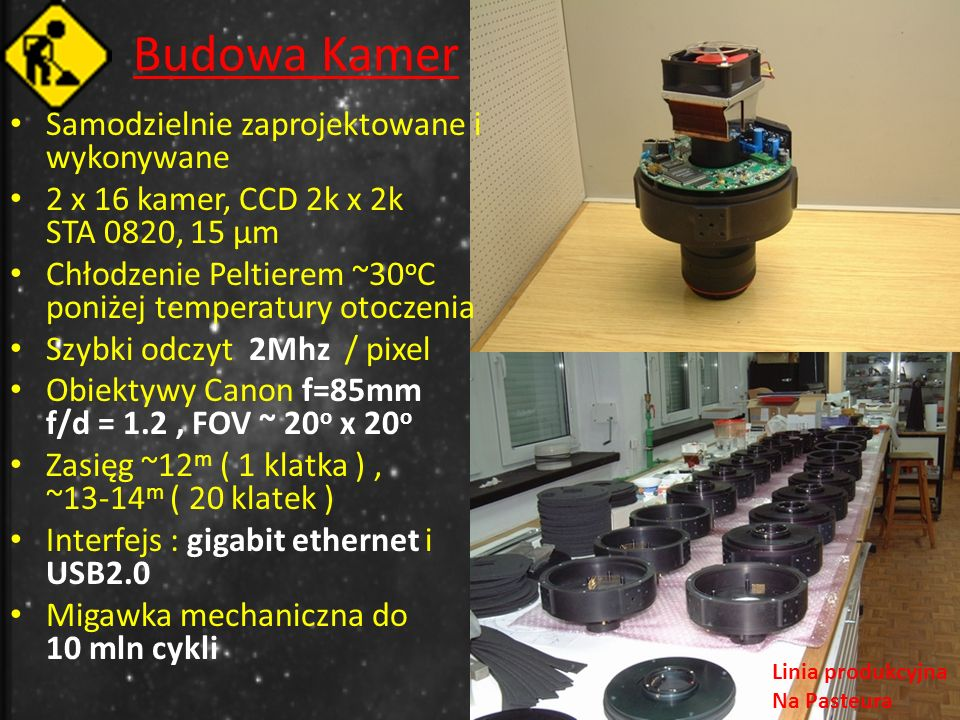 Budowa Kamer Samodzielnie zaprojektowane i wykonywane 2 x 16 kamer, CCD 2k x 2k STA 0820, 15 μm Chłodzenie Peltierem ~30 o C poniżej temperatury otoczenia Szybki odczyt 2Mhz / pixel Obiektywy Canon f=85mm f/d = 1.2, FOV ~ 20 o x 20 o Zasięg ~12 m ( 1 klatka ), ~13-14 m ( 20 klatek ) Interfejs : gigabit ethernet i USB2.0 Migawka mechaniczna do 10 mln cykli Linia produkcyjna Na Pasteura