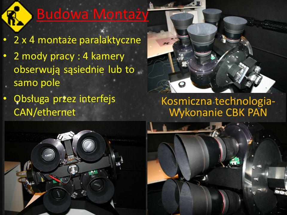 Budowa Montaży 2 x 4 montaże paralaktyczne 2 mody pracy : 4 kamery obserwują sąsiednie lub to samo pole Obsługa przez interfejs CAN/ethernet Kosmiczna technologia- Wykonanie CBK PAN