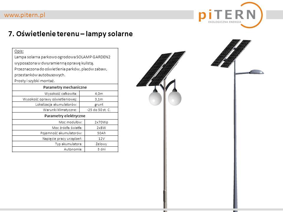 www.pitern.pl 7. Oświetlenie terenu – lampy solarne Opis: Lampa solarna parkowo ogrodowa SOLAMP GARDEN2 wyposażona w dwuramienną oprawę kulistą. Przez