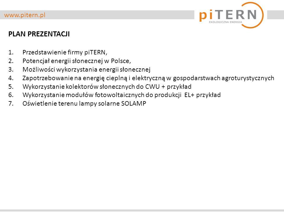 www.pitern.pl PLAN PREZENTACJI 1.Przedstawienie firmy piTERN, 2.Potencjał energii słonecznej w Polsce, 3.Możliwości wykorzystania energii słonecznej 4