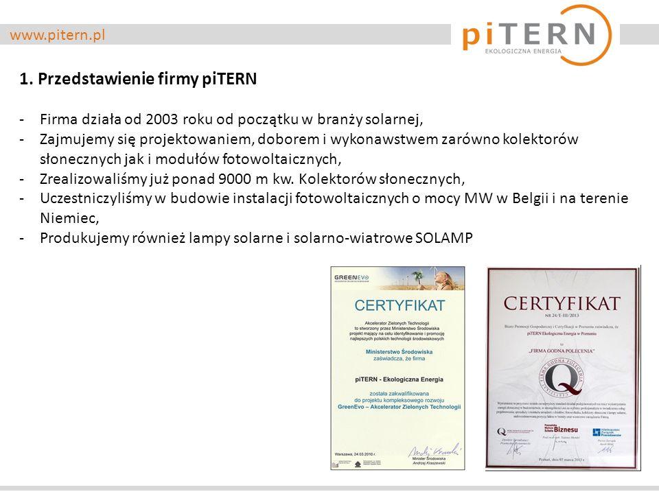 www.pitern.pl 1. Przedstawienie firmy piTERN -Firma działa od 2003 roku od początku w branży solarnej, -Zajmujemy się projektowaniem, doborem i wykona