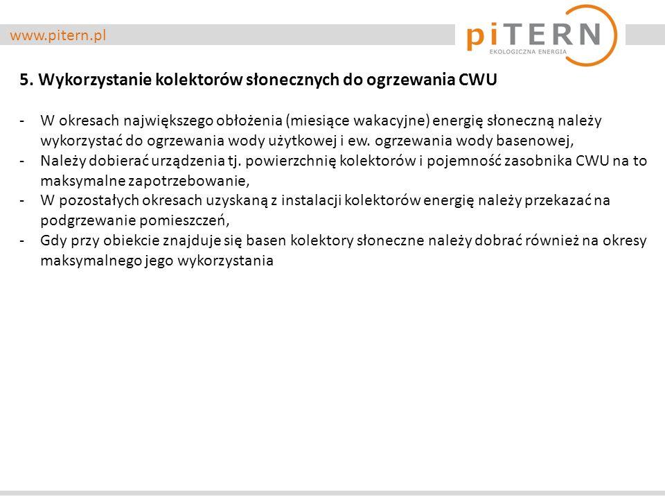 www.pitern.pl 5. Wykorzystanie kolektorów słonecznych do ogrzewania CWU -W okresach największego obłożenia (miesiące wakacyjne) energię słoneczną nale