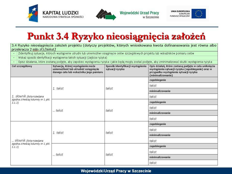 Wojewódzki Urząd Pracy w Szczecinie Punkt 3.4 Ryzyko nieosiągnięcia założeń projektu