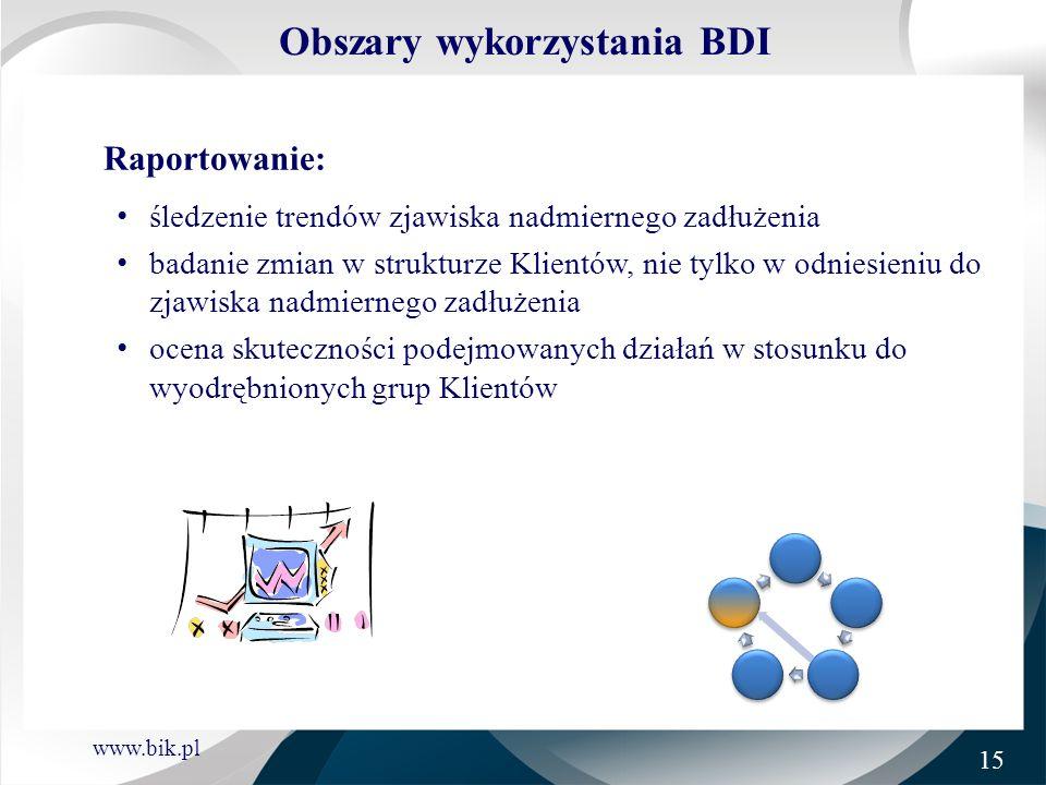 www.bik.pl Obszary wykorzystania BDI Raportowanie: śledzenie trendów zjawiska nadmiernego zadłużenia badanie zmian w strukturze Klientów, nie tylko w