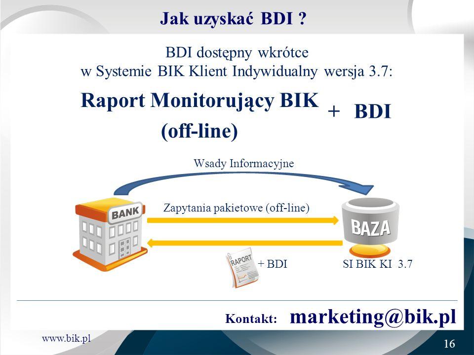 www.bik.pl Jak uzyskać BDI ? Raport Monitorujący BIK (off-line) +BDI BDI dostępny wkrótce w Systemie BIK Klient Indywidualny wersja 3.7: SI BIK KI 3.7