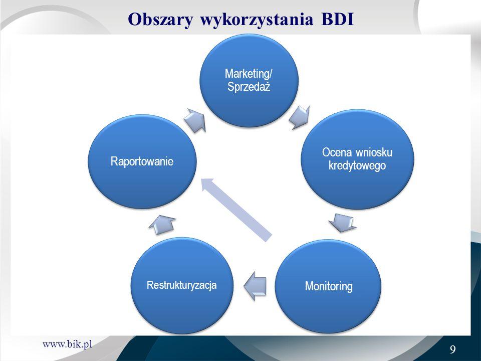 www.bik.pl Obszary wykorzystania BDI Marketing/sprzedaż : włączenie Klientów z Klas A i B w zakres działań marketingowych wykluczenie Klientów z Klas C i D z działań marketingowych lepsze dostosowanie oferty do potrzeb i możliwości Klientów (np.