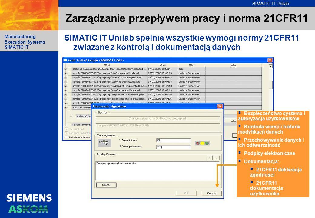 SIMATIC IT Unilab Manufacturing Execution Systems SIMATIC IT Zarządzanie przepływem pracy i norma 21CFR11 SIMATIC IT Unilab spełnia wszystkie wymogi n