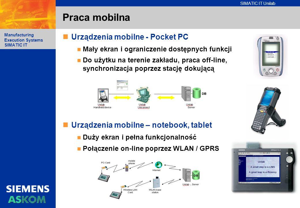 SIMATIC IT Unilab Manufacturing Execution Systems SIMATIC IT Praca mobilna Urządzenia mobilne - Pocket PC Mały ekran i ograniczenie dostępnych funkcji
