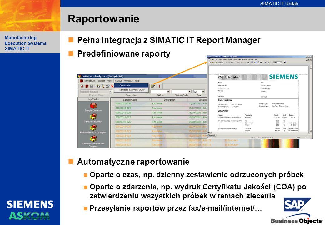 SIMATIC IT Unilab Manufacturing Execution Systems SIMATIC IT Pełna integracja z SIMATIC IT Report Manager Predefiniowane raporty Automatyczne raportow