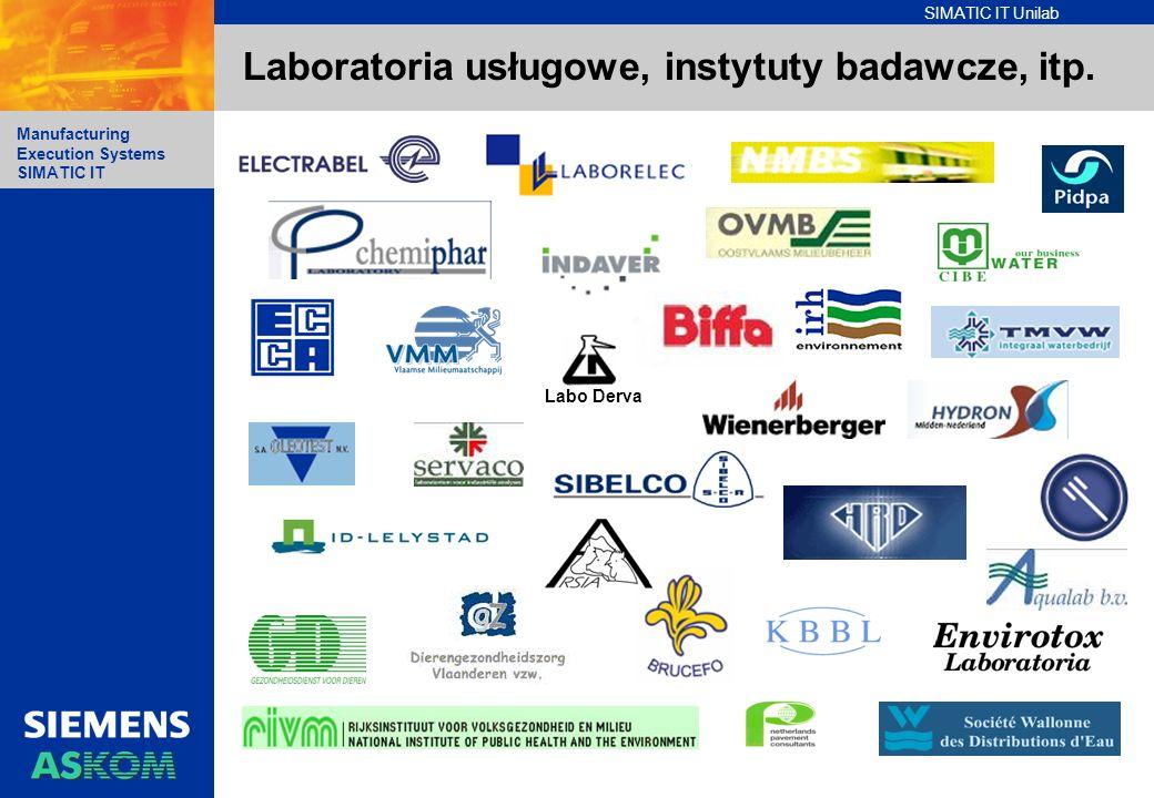 SIMATIC IT Unilab Manufacturing Execution Systems SIMATIC IT Laboratoria usługowe, instytuty badawcze, itp. Labo Derva