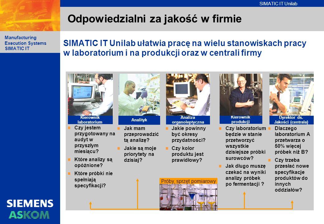 SIMATIC IT Unilab Manufacturing Execution Systems SIMATIC IT Odpowiedzialni za jakość w firmie SIMATIC IT Unilab ułatwia pracę na wielu stanowiskach p