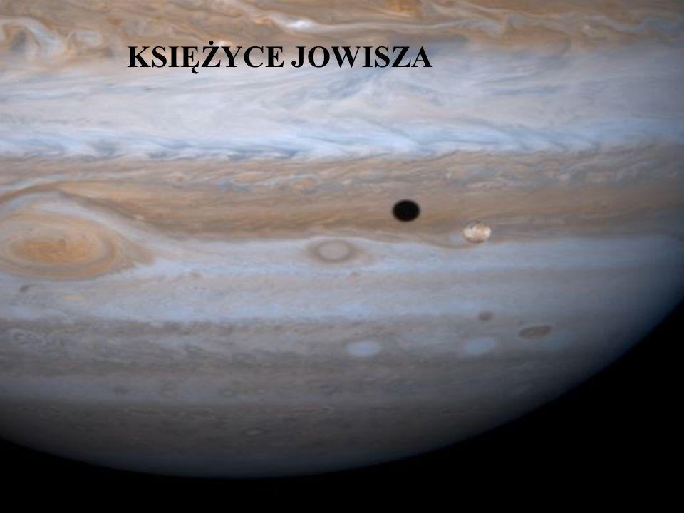 JOWISZ średnica [km]142 796 masa (masa Ziemi=1)318 średnia gęstość (woda=1)1,33 czas obrotu9 h 55 min 30s okres orbitalny (Ziemia=1 rok)11,86 średnia