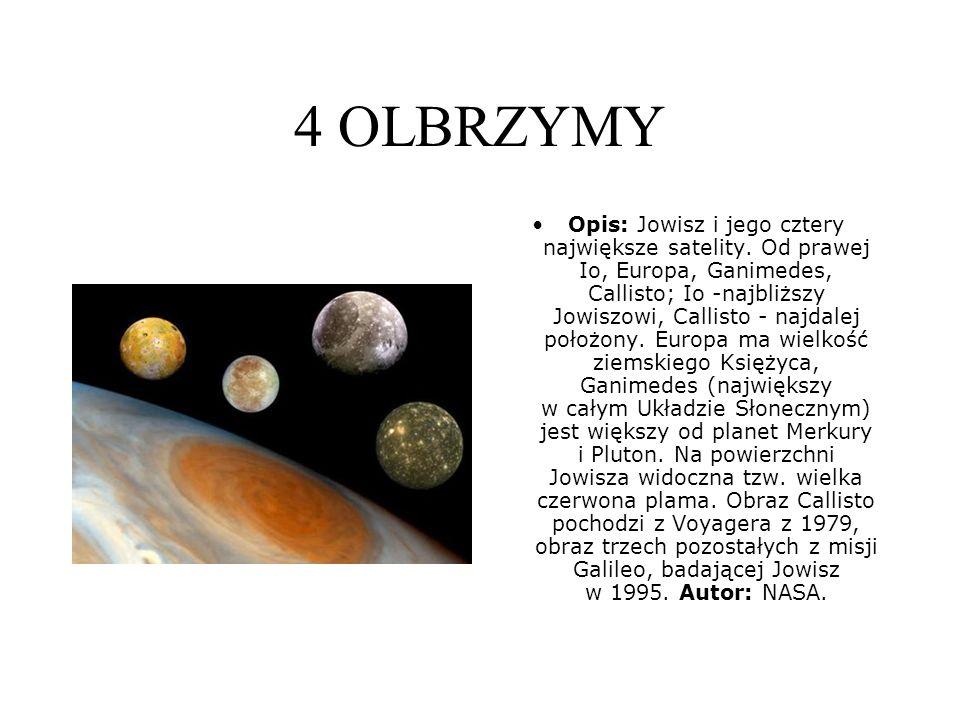 4 OLBRZYMY Opis: Jowisz i jego cztery największe satelity.