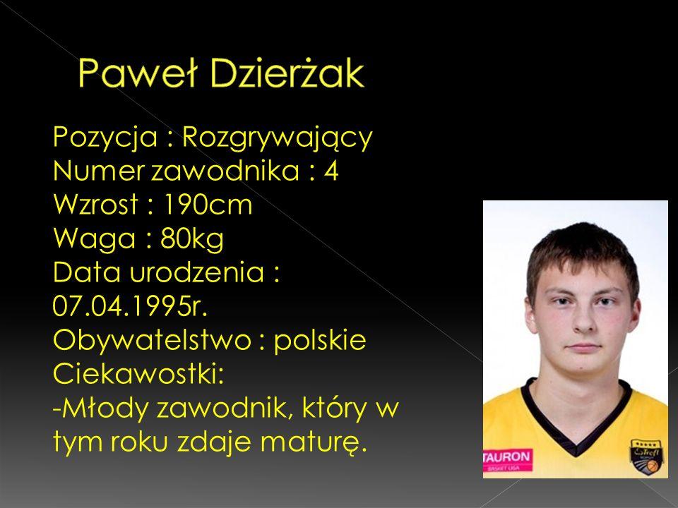 Pozycja : Rozgrywający Numer zawodnika : 4 Wzrost : 190cm Waga : 80kg Data urodzenia : 07.04.1995r. Obywatelstwo : polskie Ciekawostki: -Młody zawodni