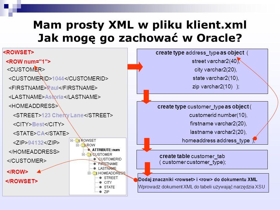 Mam prosty XML w pliku klient.xml Jak mogę go zachować w Oracle? 1044 Paul Astoria 123 Cherry Lane Best CA 94132 create type address_type as object (