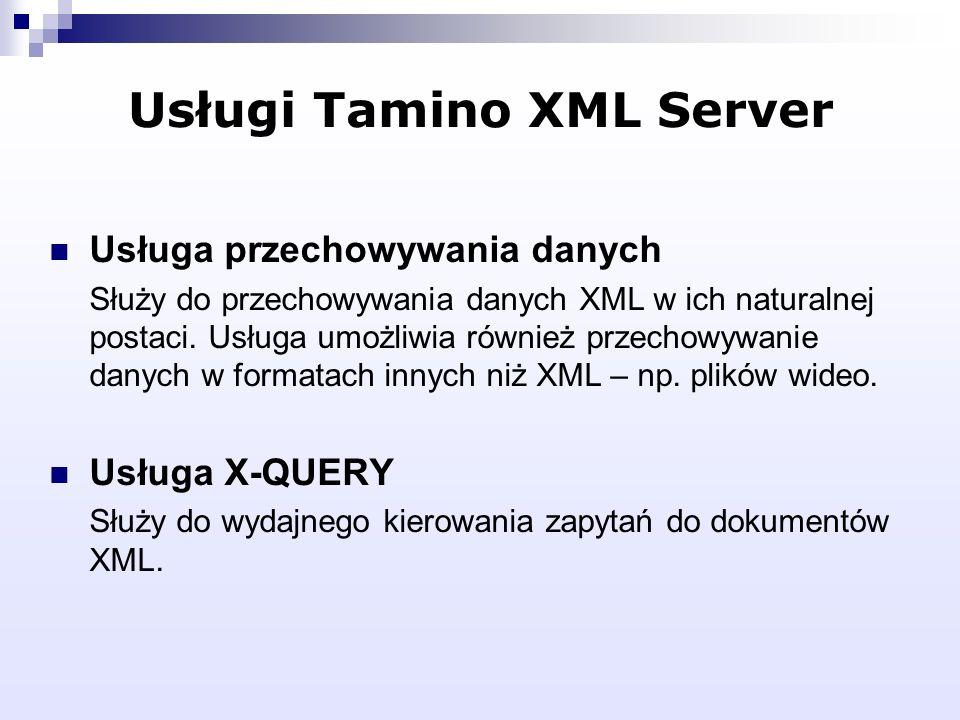 Usługi Tamino XML Server Usługa przechowywania danych Służy do przechowywania danych XML w ich naturalnej postaci. Usługa umożliwia również przechowyw