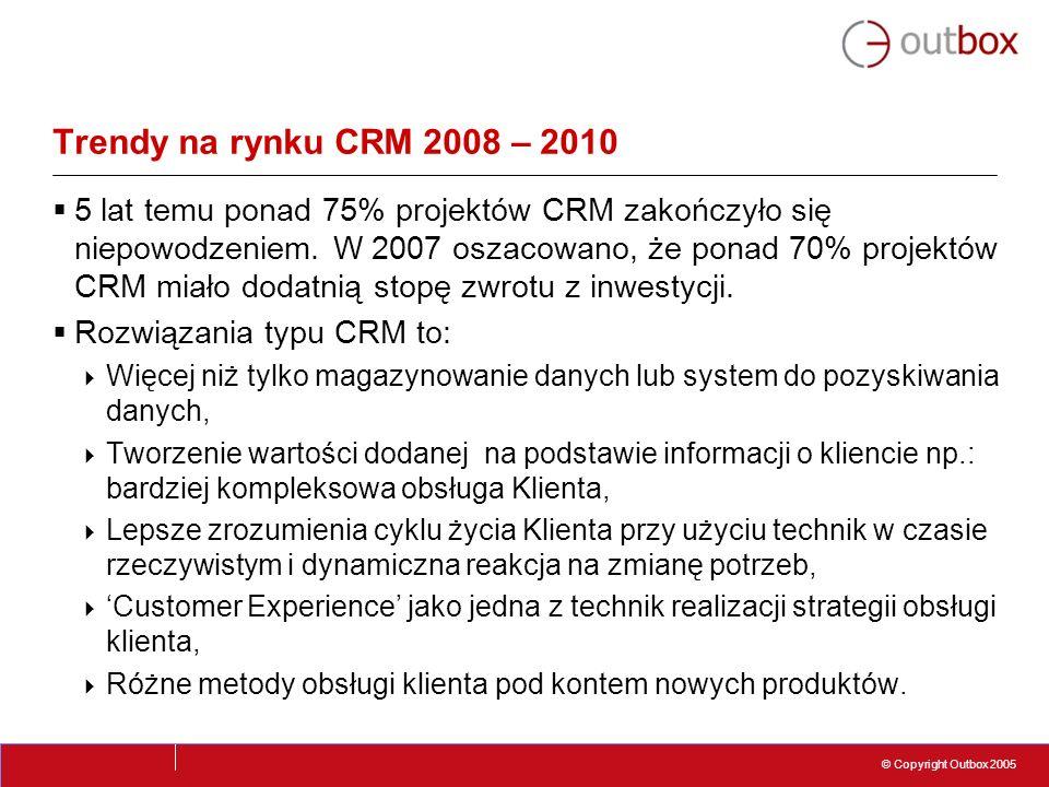 © Copyright Outbox 2005 Trendy na rynku CRM 2008 – 2010 5 lat temu ponad 75% projektów CRM zakończyło się niepowodzeniem. W 2007 oszacowano, że ponad