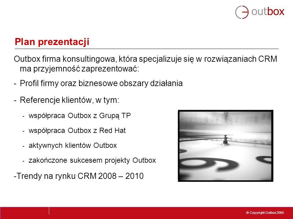 © Copyright Outbox 2005 Plan prezentacji Outbox firma konsultingowa, która specjalizuje się w rozwiązaniach CRM ma przyjemność zaprezentować: -Profil