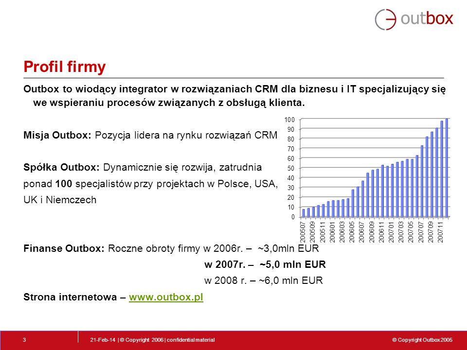 © Copyright Outbox 2005 21-Feb-14 | © Copyright 2006 | confidential material4 Profil firmy - Tło Polska firma założona przez konsultantów z bogatym doświadczeniem w zakresie rozwiązań CRM Zatrudnia ponad 100 osób w pełnym wymiarze doświadczonych w wielu technologiach.