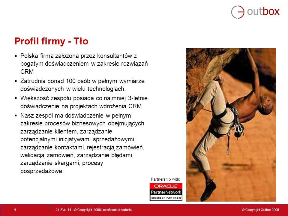 © Copyright Outbox 2005 21-Feb-14 | © Copyright 2006 | confidential material5 Obszary działania biznesowego Doradztwo biznesowe - Strategia biznesowa CRM - Przygotowanie studium przypadków (case study) - RUP modelowanie przypadków biznesowych -Tworzenie planów wdrożenia projektów IT - Strategia szkoleń dla obsługi klienta Wdrażanie systemów - Zarządzanie projektem IT - Zarządzanie ryzykiem - Analizy systemowe i biznesowe - Projektowanie rozwiązań w systemach IT - Zarządzanie jakością przy wdrożeniach projektów IT - Wsparcie techniczne CRM - PeopleSoft - Siebel - Clarify Rozwój - Rozwój oprogramowania w modelu off-shore w Polsce dla firm zagranicznych - Rozwój dodatkowych funkcjonalności w istniejącym już oprogramowaniu Billing - Portal - Kenan - Geneva Webmethods J2EE Jboss – J2EE solutions C/ C++.Net BI & Data Warehouse
