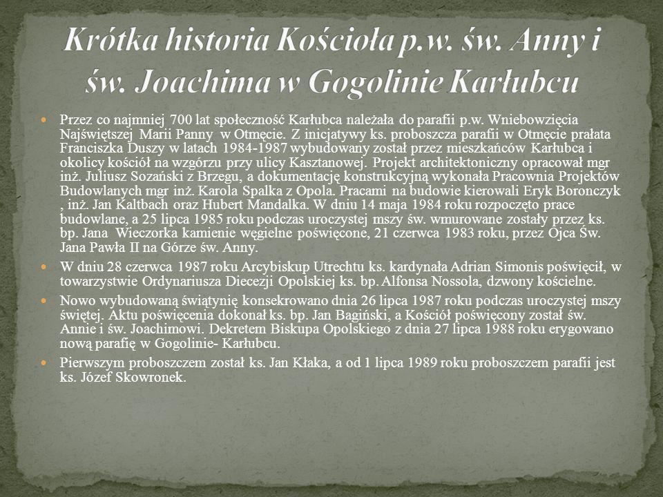 Przez co najmniej 700 lat społeczność Karłubca należała do parafii p.w.