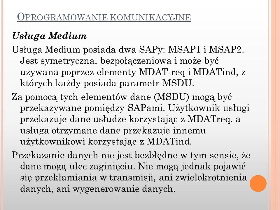 Usługa Medium Usługa Medium posiada dwa SAPy: MSAP1 i MSAP2. Jest symetryczna, bezpołączeniowa i może być używana poprzez elementy MDAT-req i MDATind