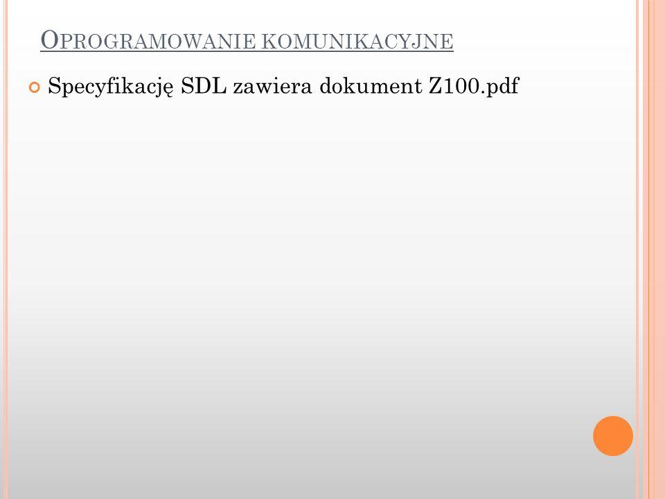 O PROGRAMOWANIE KOMUNIKACYJNE Specyfikację SDL zawiera dokument Z100.pdf