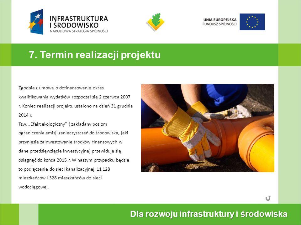 7. Termin realizacji projektu Dla rozwoju infrastruktury i środowiska Zgodnie z umową o dofinansowanie okres kwalifikowania wydatków rozpoczął się 2 c