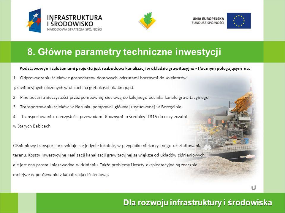 8. Główne parametry techniczne inwestycji Dla rozwoju infrastruktury i środowiska Podstawowymi założeniami projektu jest rozbudowa kanalizacji w układ