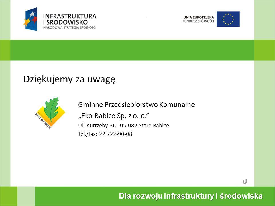 Dla rozwoju infrastruktury i środowiska Dziękujemy za uwagę Gminne Przedsiębiorstwo Komunalne Eko-Babice Sp. z o. o. Ul. Kutrzeby 36 05-082 Stare Babi