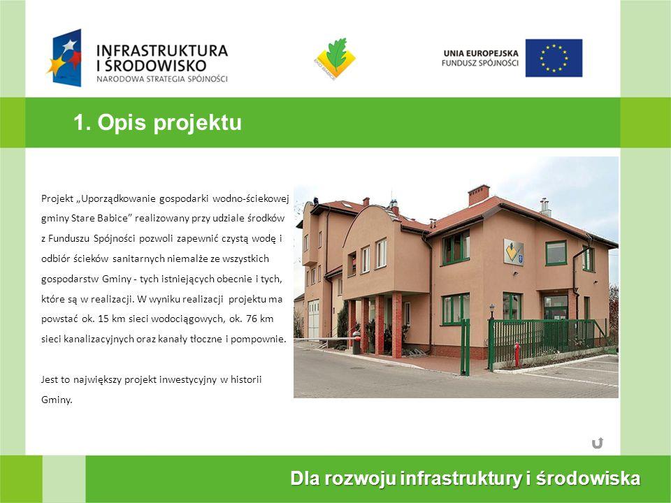 1. Opis projektu Dla rozwoju infrastruktury i środowiska Projekt Uporządkowanie gospodarki wodno-ściekowej gminy Stare Babice realizowany przy udziale