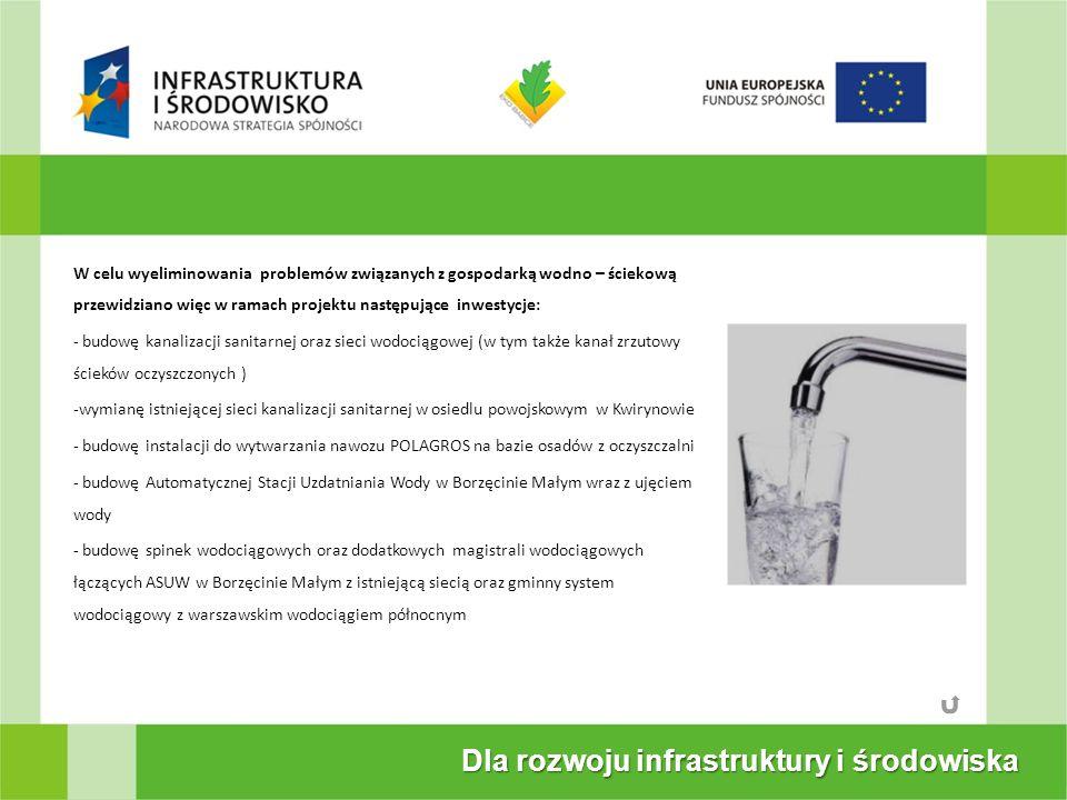Dla rozwoju infrastruktury i środowiska W celu wyeliminowania problemów związanych z gospodarką wodno – ściekową przewidziano więc w ramach projektu następujące inwestycje: - budowę kanalizacji sanitarnej oraz sieci wodociągowej (w tym także kanał zrzutowy ścieków oczyszczonych ) -wymianę istniejącej sieci kanalizacji sanitarnej w osiedlu powojskowym w Kwirynowie - budowę instalacji do wytwarzania nawozu POLAGROS na bazie osadów z oczyszczalni - budowę Automatycznej Stacji Uzdatniania Wody w Borzęcinie Małym wraz z ujęciem wody - budowę spinek wodociągowych oraz dodatkowych magistrali wodociągowych łączących ASUW w Borzęcinie Małym z istniejącą siecią oraz gminny system wodociągowy z warszawskim wodociągiem północnym