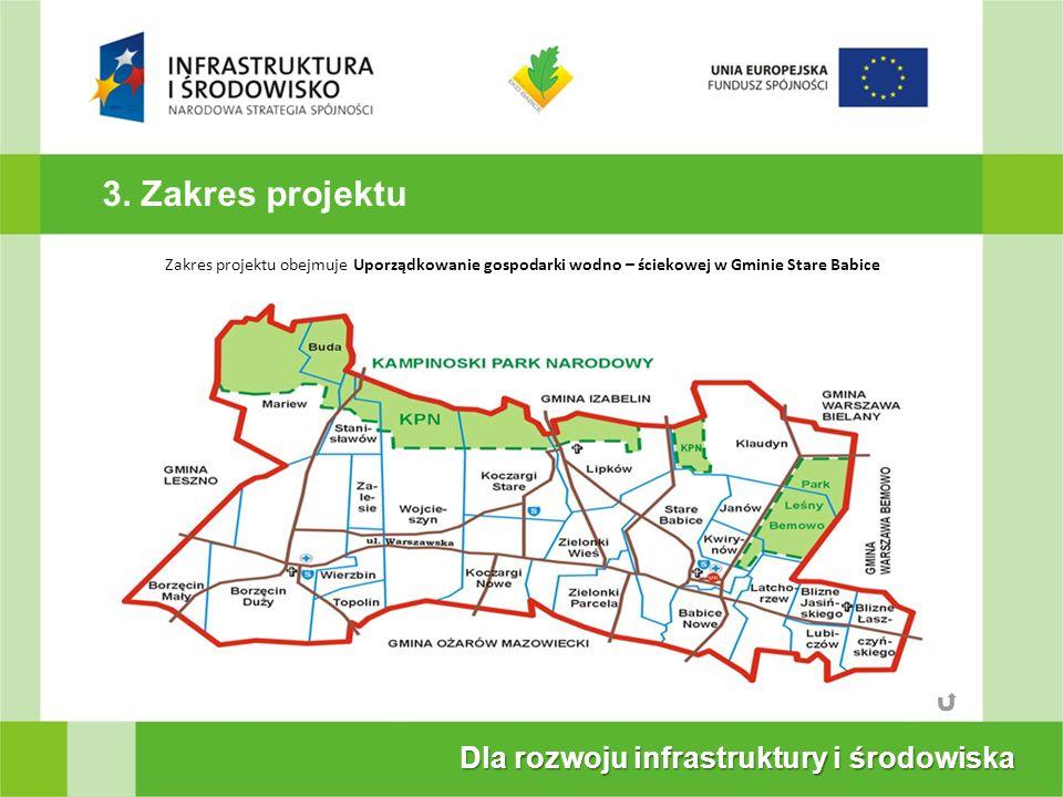 3. Zakres projektu Dla rozwoju infrastruktury i środowiska Projekt współfinansowany przez Unię Europejsk ze środkównduszu Sjnoś w ramach Prog\ramOpera