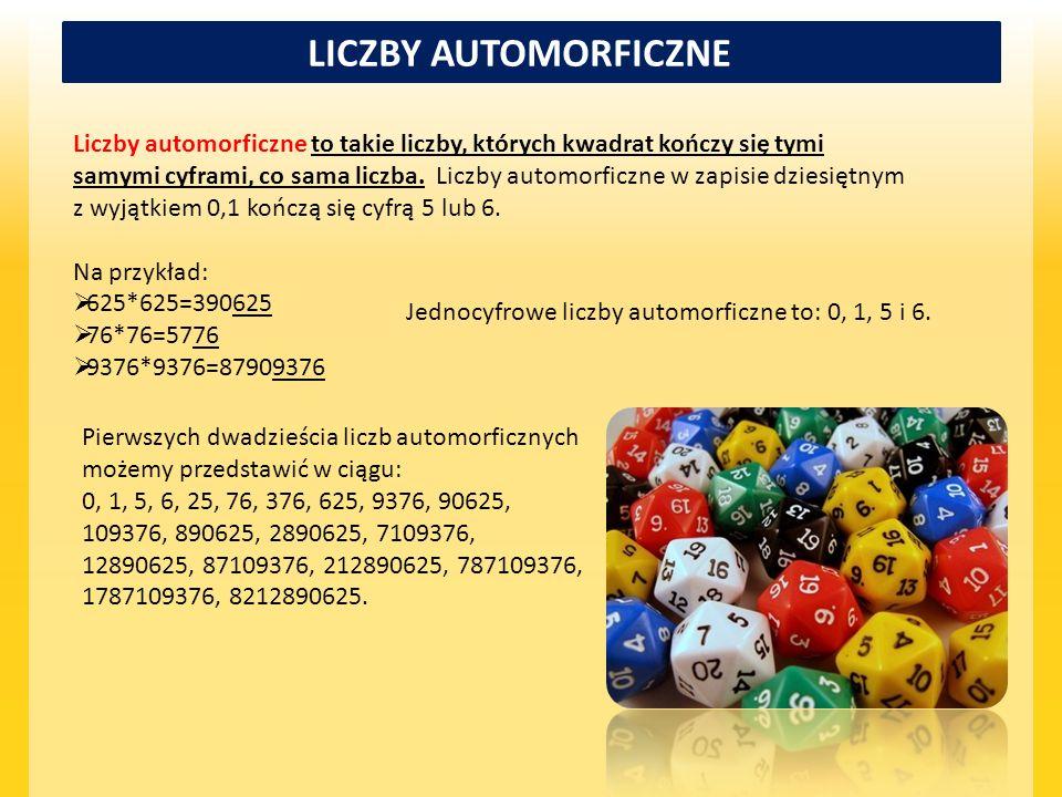 LICZBY AUTOMORFICZNE Liczby automorficzne to takie liczby, których kwadrat kończy się tymi samymi cyframi, co sama liczba. Liczby automorficzne w zapi